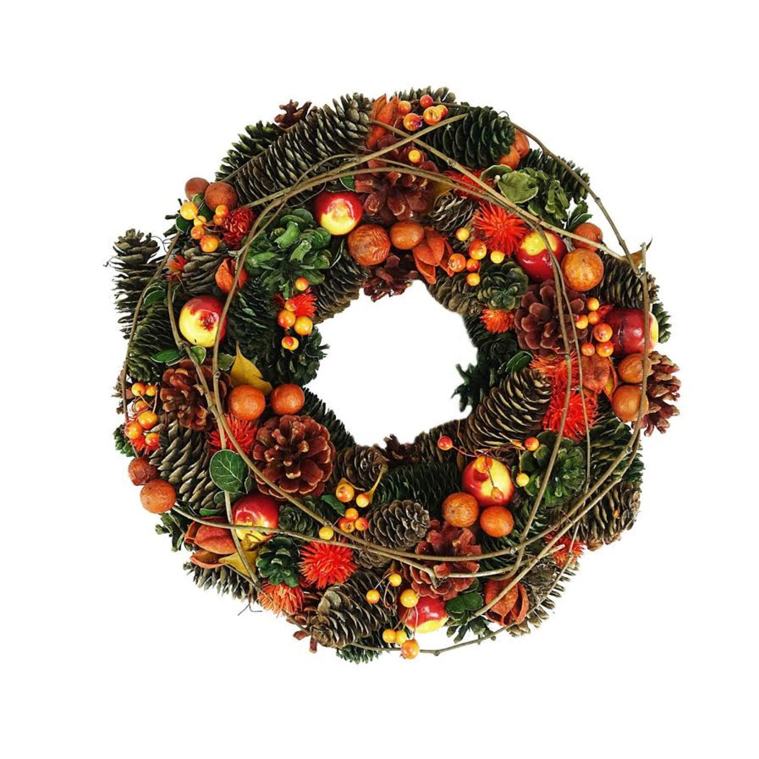 "14.75"" Autumn Harvest Apples Berries and Pinecones Wreath Decoration"