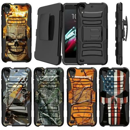 Htc Wing Design Case (HTC Desire 530 | HTC Desire 630 | HTC Desire 550 Case [ Case for Boys][Cool Phone Case Series]Built-In Kickstand + Bonus Holster - Plain Black /No Design)