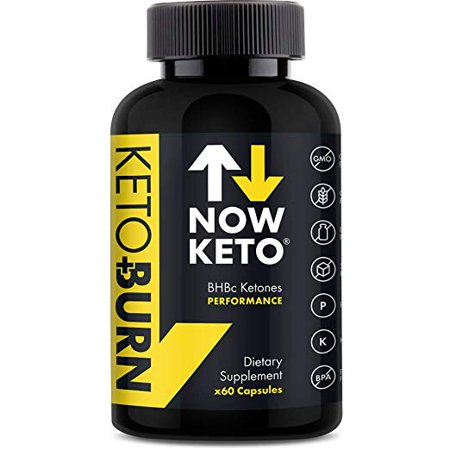NOW KETO Keto + Burn Exogenous BHB Ketone Supplement Capsules | Best Keto Diet | Ketosis Supplement to Support Fat Burn, Boosts Energy with Beta Hydroxybutrate Salts for Weight Loss 60