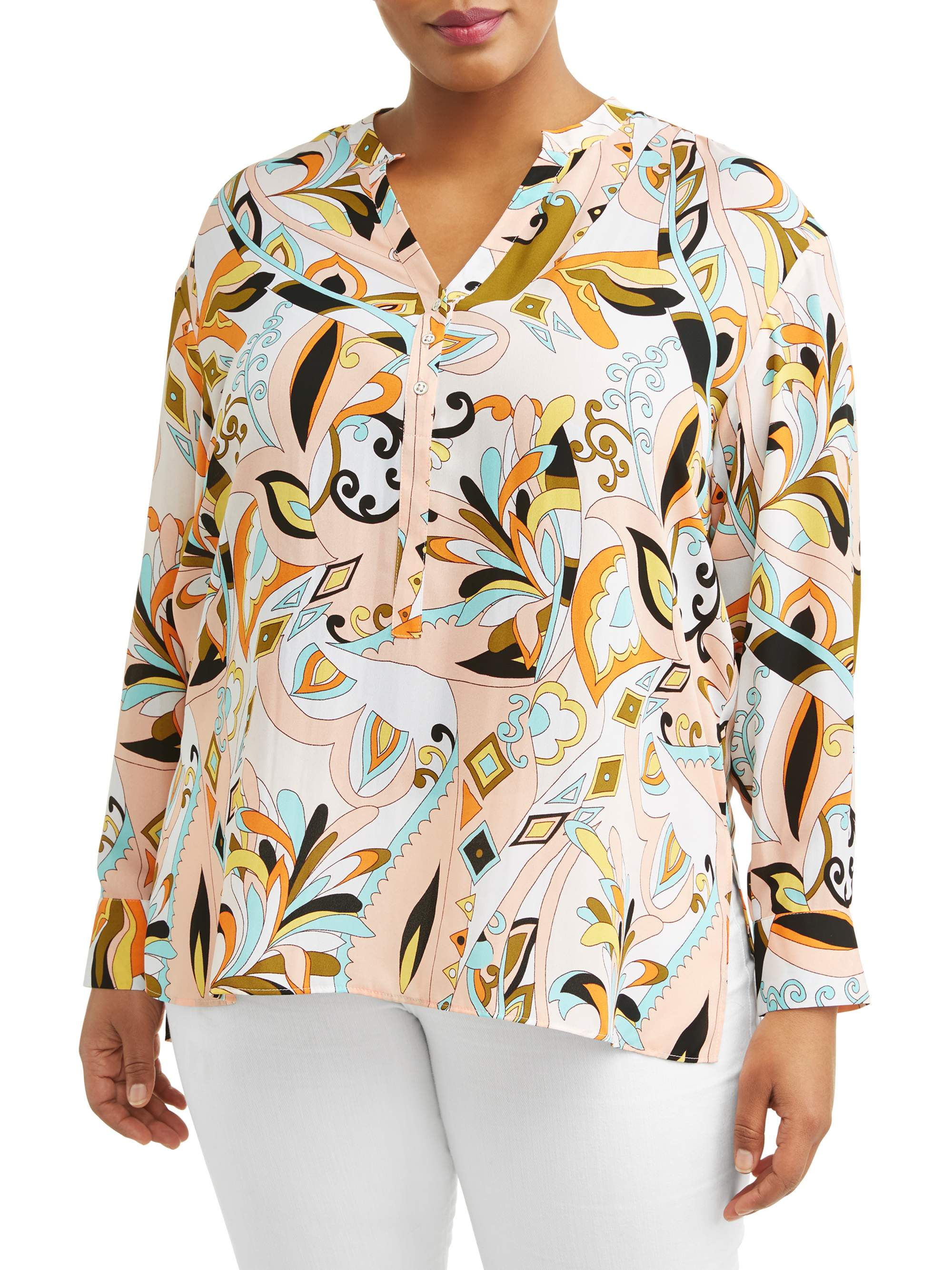 Women's Plus Sized Long Sleeve Printed High Low Blouse