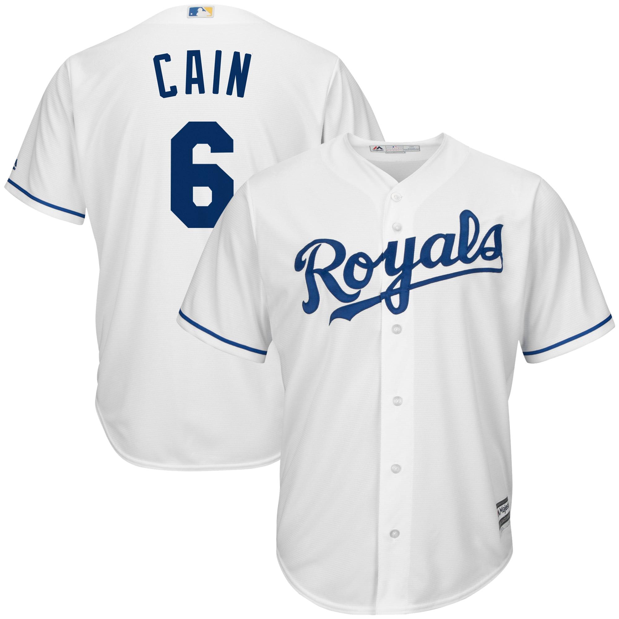 Men's Majestic Lorenzo Cain White Kansas City Royals Big & Tall Official Cool Base Player Jersey