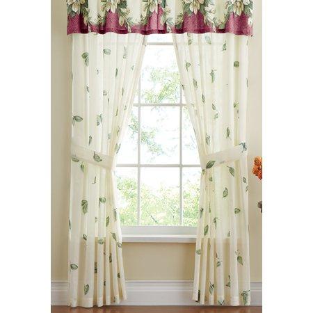 Magnolia Garden Floral Leaf Rod Pocket Window Curtain Collection, Panel Pair, - Leaf Window