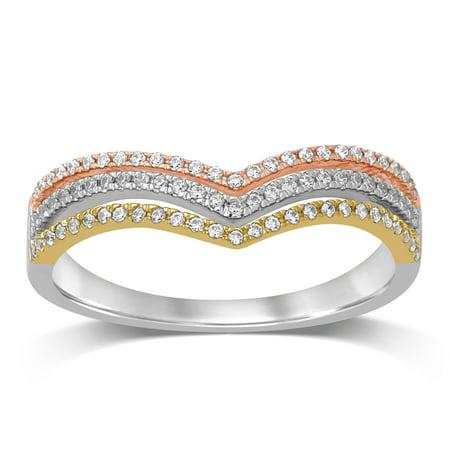 Diamond Jewel 10K Tri Color Gold 1/5 Cttw Diamond Women's Fashion Band Ring