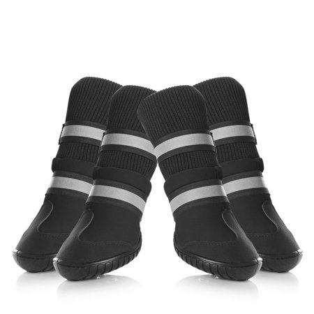 (Dog Shoes Waterproof Dog Boots Anti-Slip Snow Boots Warm Paw Protector for Dog, 4 Pcs, Black)