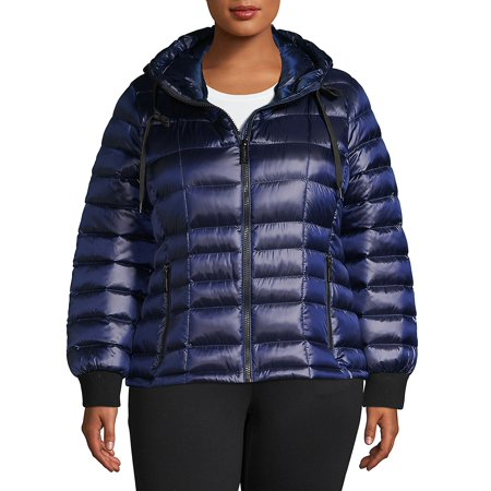 Plus Packable Hooded Puffer Down Coat