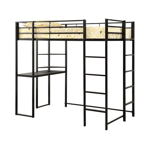 Trinidad Workstation Loft Bunk Bed in Silver