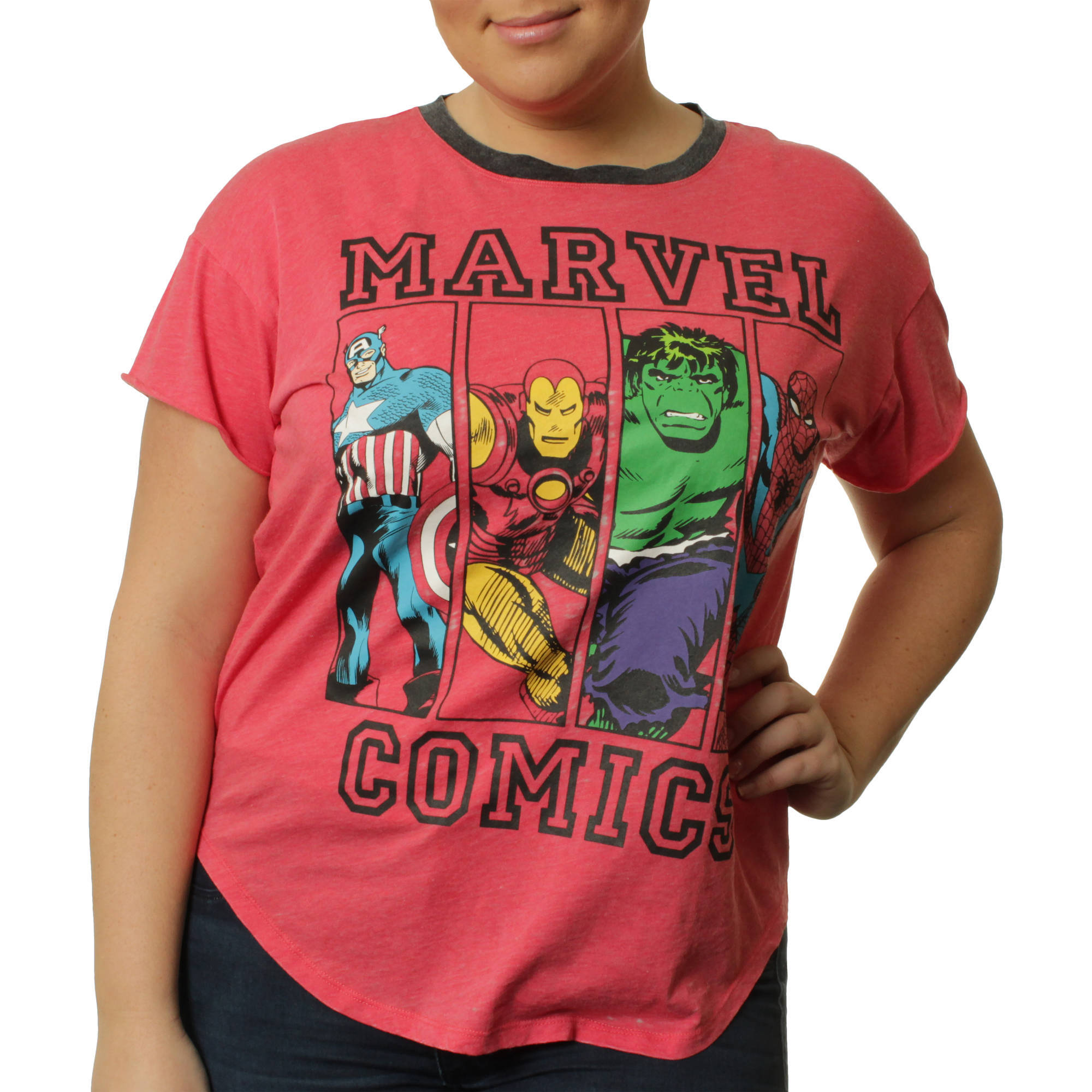 Marvel Women's Plus Ringer Shirt tail Tee