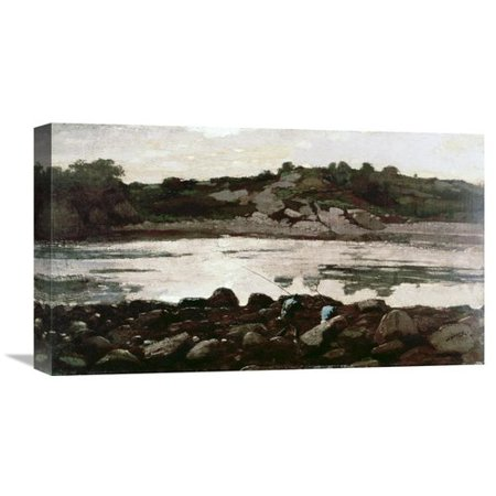 (Global Gallery 'Fisherman on Rocks' by Winslow Homer Painting Print on Wrapped Canvas)