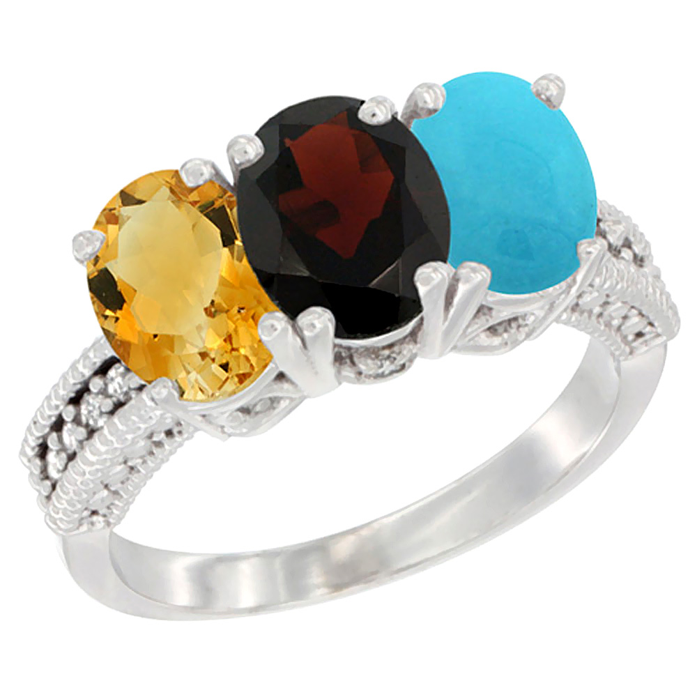 10K White Gold Natural Citrine, Garnet & Turquoise Ring 3-Stone Oval 7x5 mm Diamond Accent, sizes 5 10 by WorldJewels