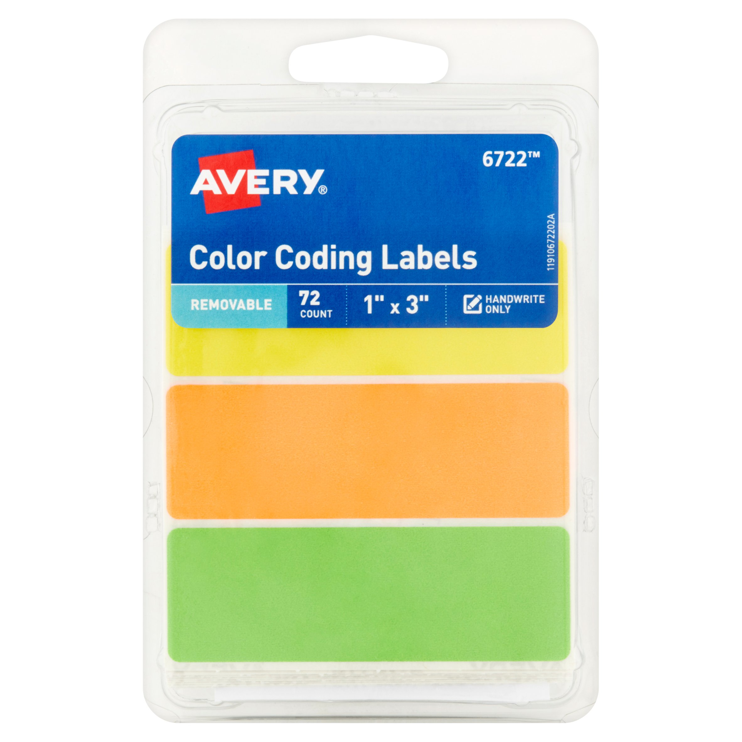 "Avery(R) Neon Removable Color-Coding Labels 6722, 1"" x 3"", Assorted, Pack of 72"