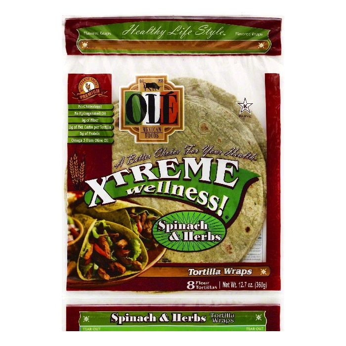 "OLE Mexican Foods Xtreme Wellness! Spinach & Herbs 8"" Tortillas, 8 ct"