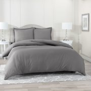 "Nestl 3 Piece Duvet Cover Set, Luxury Bedding Duvet Cover with 2 Pillow Shams, Button Closure, Luxury 100% Super Soft Microfiber, Hypoallergenic, Queen (90""x90"") - Charcoal Gray"