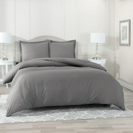 Nestl Bedding Duvet Cover 3 Piece Set – Ultra Soft Double Brushed Microfiber Hotel Collection – Comforter Cover with Button Closure and 2 Pillow Shams, Gray - Queen 90
