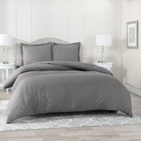 "Nestl 3 Piece Duvet Cover Set, Luxury Bedding Comforter Cover with 2 Pillow Shams, Button Closure, Luxury 100% Super Soft Microfiber, Hypoallergenic, Queen (90""x90"") - Charcoal Gray"