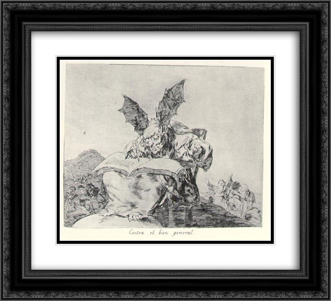 Francisco Goya 2x Matted 24x20 Black Ornate Framed Art Print 'Against the common good'