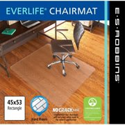 """ES Robbins Chair Mat for Hard Floors - Heavy Use, 48"""" x 72"""" Rectangle, Clear"""
