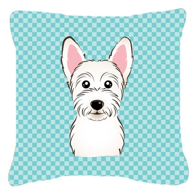 Carolines Treasures BB1164PW1414 Checkerboard Blue Westie Fabric Decorative Pillow, 14 x 14 In. - image 1 of 1
