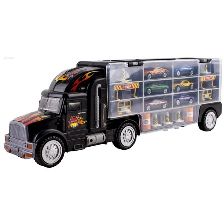 bf2d426ceaf9c WolVol Transport Car Carrier Truck Toy for Boys and Girls (includes 6 cars  and 28 slots) - Walmart.com
