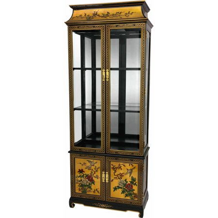 Oriental Lacquer Curio Cabinet Gold Birds Flowers