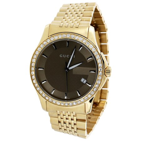 Gucci YA126406 Diamond Watch Brown Dial 38mm Stainless Steel Gold PVD 1.75 Ct.