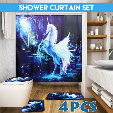 Horse Bath Decor (4-Piece Home Hotel Bathroom Sets- 1 Non-Slip Bath Mat+1 Toilet Cover Mat+1 Pedestal Rug Mat / Unicor n Fly Horse Shower Curtain+12 Hooks Dark Blue )