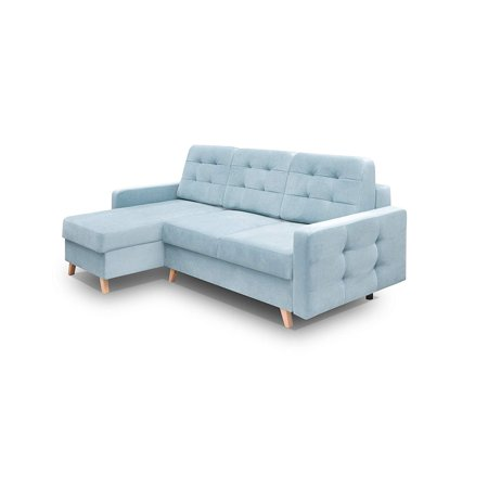 Vegas Futon Sectional Sofa Bed, Queen Sleeper with Storage, Blue