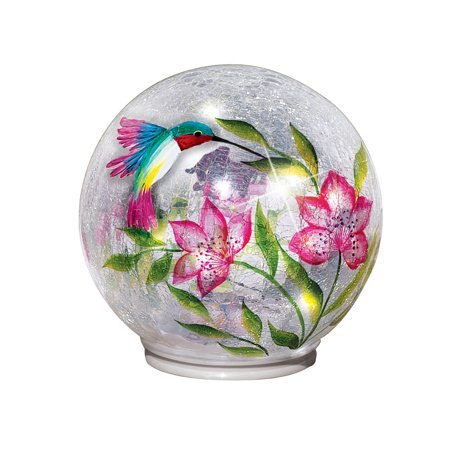 Lighted Crackle Glass Garden Globe Ball Outdoor Yard or Table Decoration, Hummingbird