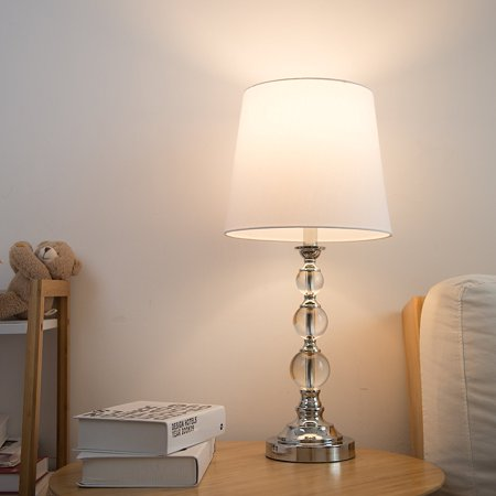Stacked Crystal Ball Contemporary Table Lamps, Set of 2, Chrome Finish, w/ White Fabric Rolled Edge Shade