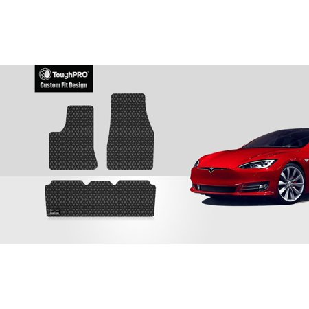 ToughPRO - TESLA Model S 1st & 2nd Row Mats - All Weather - Heavy Duty - Black Rubber - 2017 (All Model