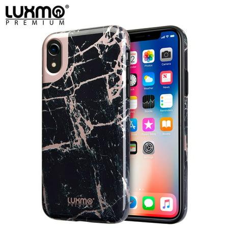 promo code 94175 6a3bb MUNDAZE Black Rose Gold Marble Design Case For Apple iPhone XR Phone