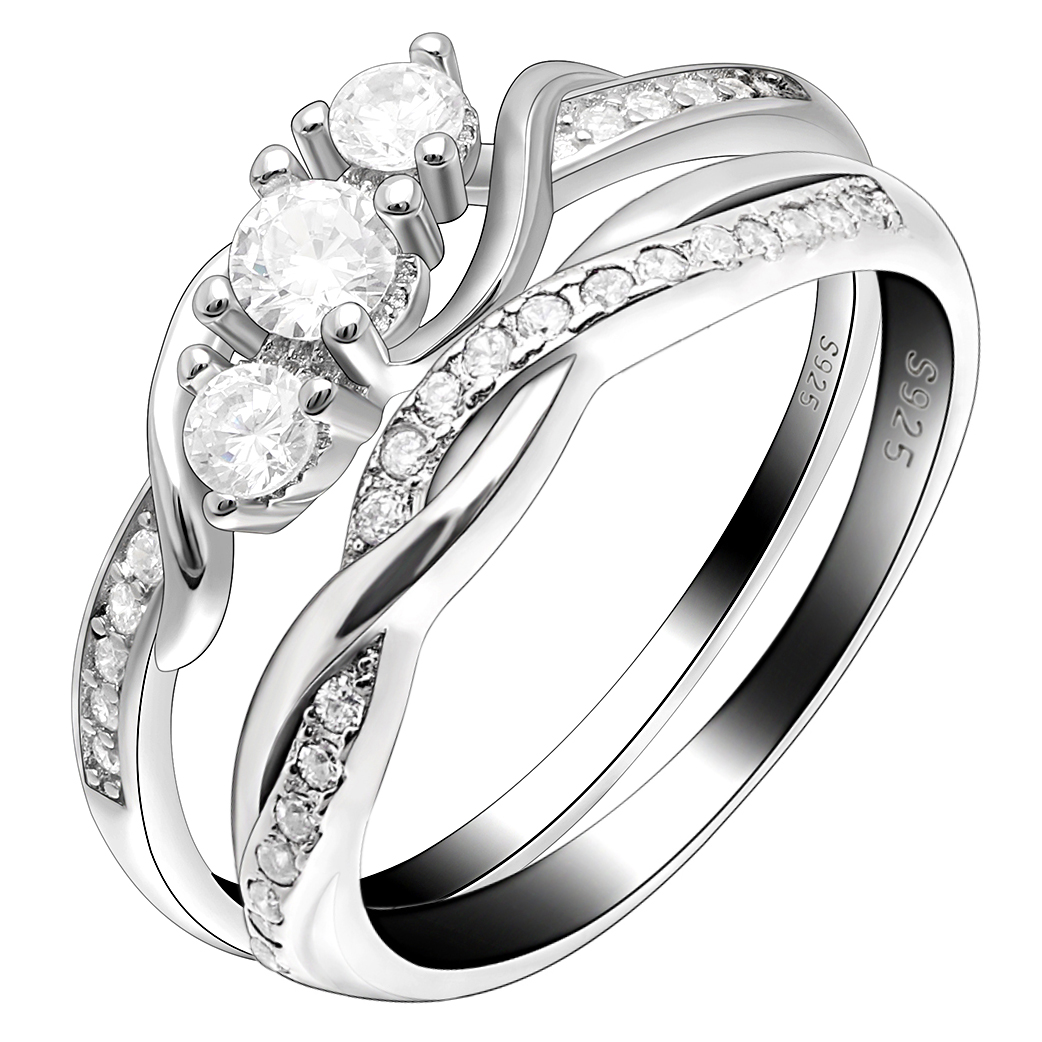 Ginger Lyne Collection Leah II 3 Ring Bridal Engagement and Wedding Band Ring Set