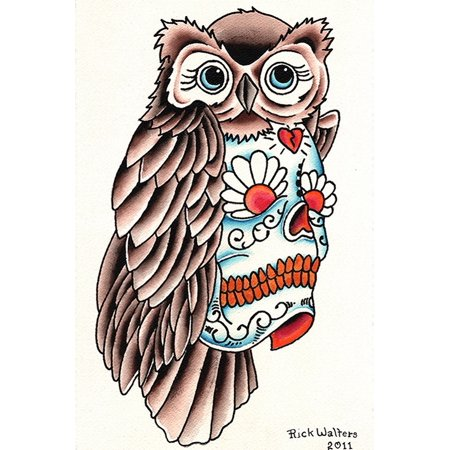 Owl Sugar Skull by Rick Walters Traditional Old School Tattoo Design Art Print