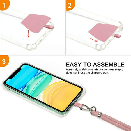 takyu Phone Lanyard, Universal Cell Phone Lanyard with Adjustable Nylon Neck Strap, Phone Tether Safety Strap Compatible with Most Smartphones with Full Coverage Case (Pink) - image 2 de 5