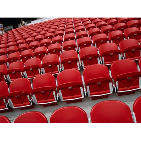 Seats Inside Soccer Stadium San Siro of Internazionale Milano and Ac Milano, Milan, Italy Print Wall Art By Martin Moos