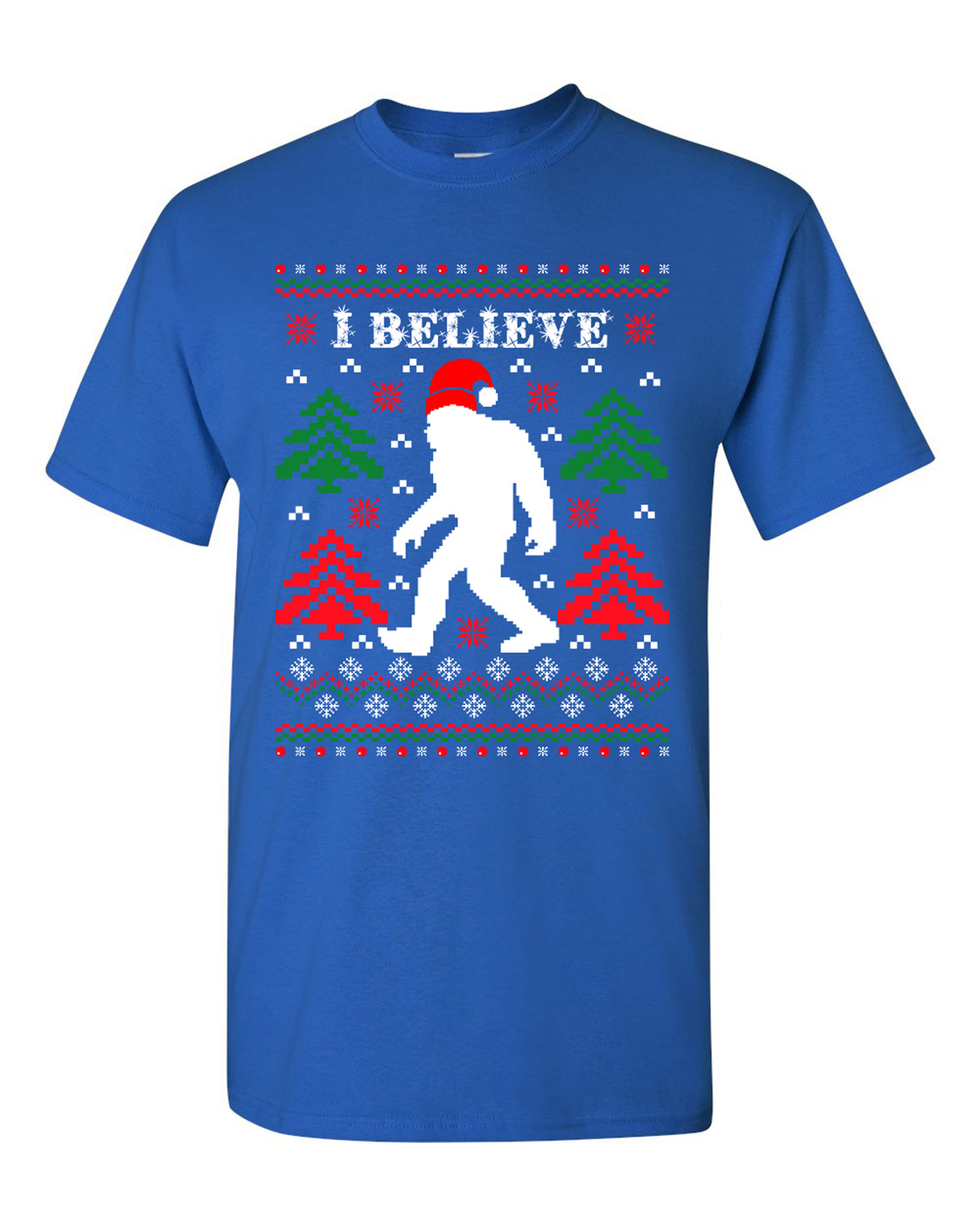 I Believe Sasquatch Big Foot Ugly Christmas Gift Funny DT Adult T-Shirt Tee