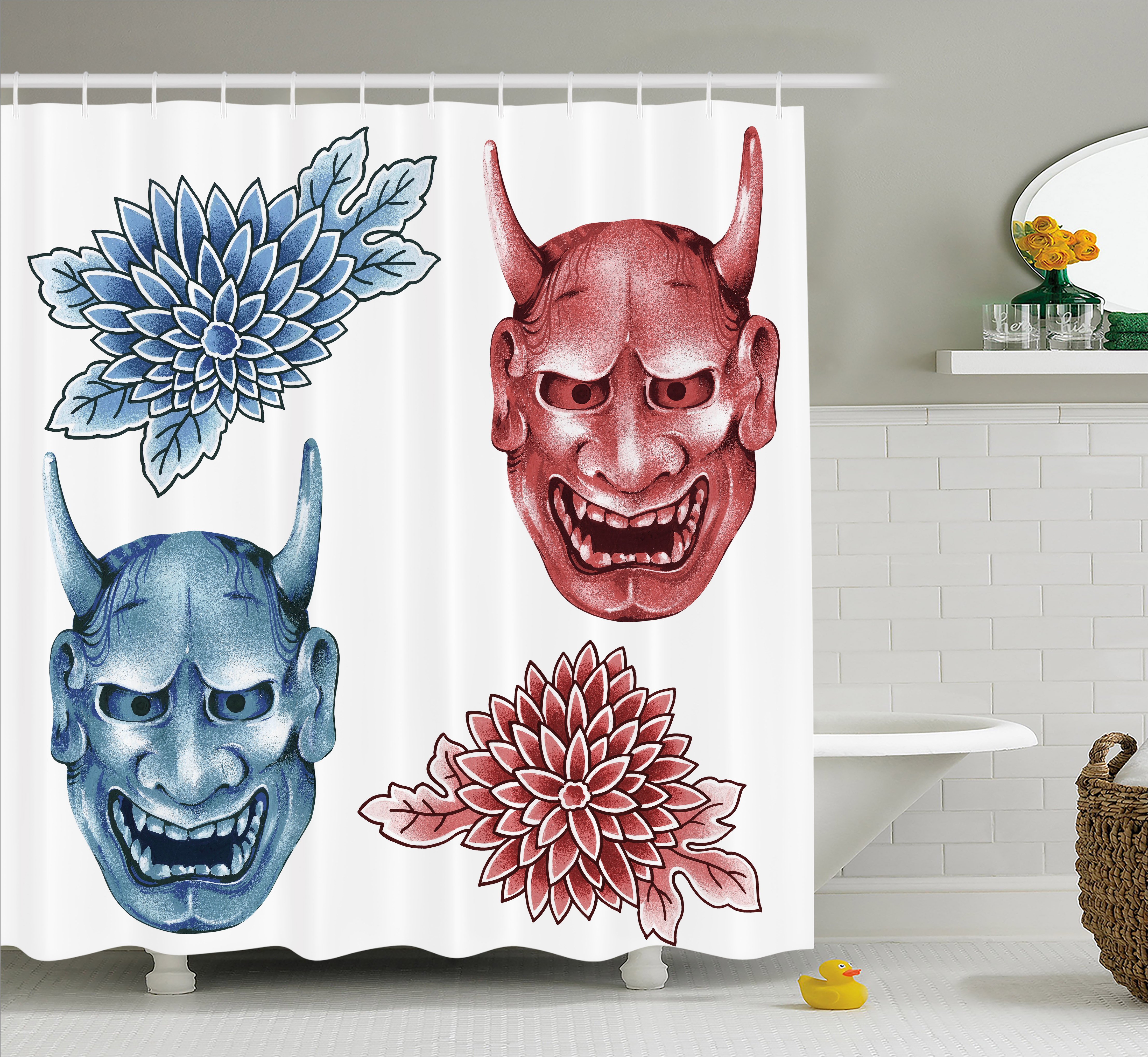 Kabuki Mask Decoration Shower Curtain, Different Colored Masks of Japanese Demoness Ornate Flowers Art, Fabric Bathroom Set with Hooks, 69W X 70L Inches, Blue Red White, by Ambesonne