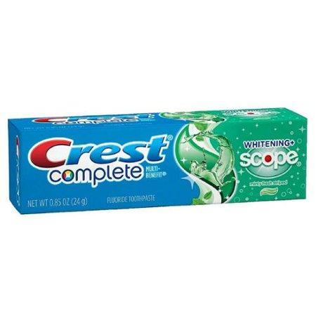 Crest complète multi-avantages Dentifrice Fluoride, + Portée Whitening, frais Minty 0,85 oz (Pack de 3)