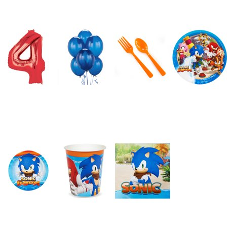 SONIC BOOM SONIC THE HEDGEHOG PARTY SUPPLIES PARTY PACK FOR 32 WITH RED #4 BALLOON