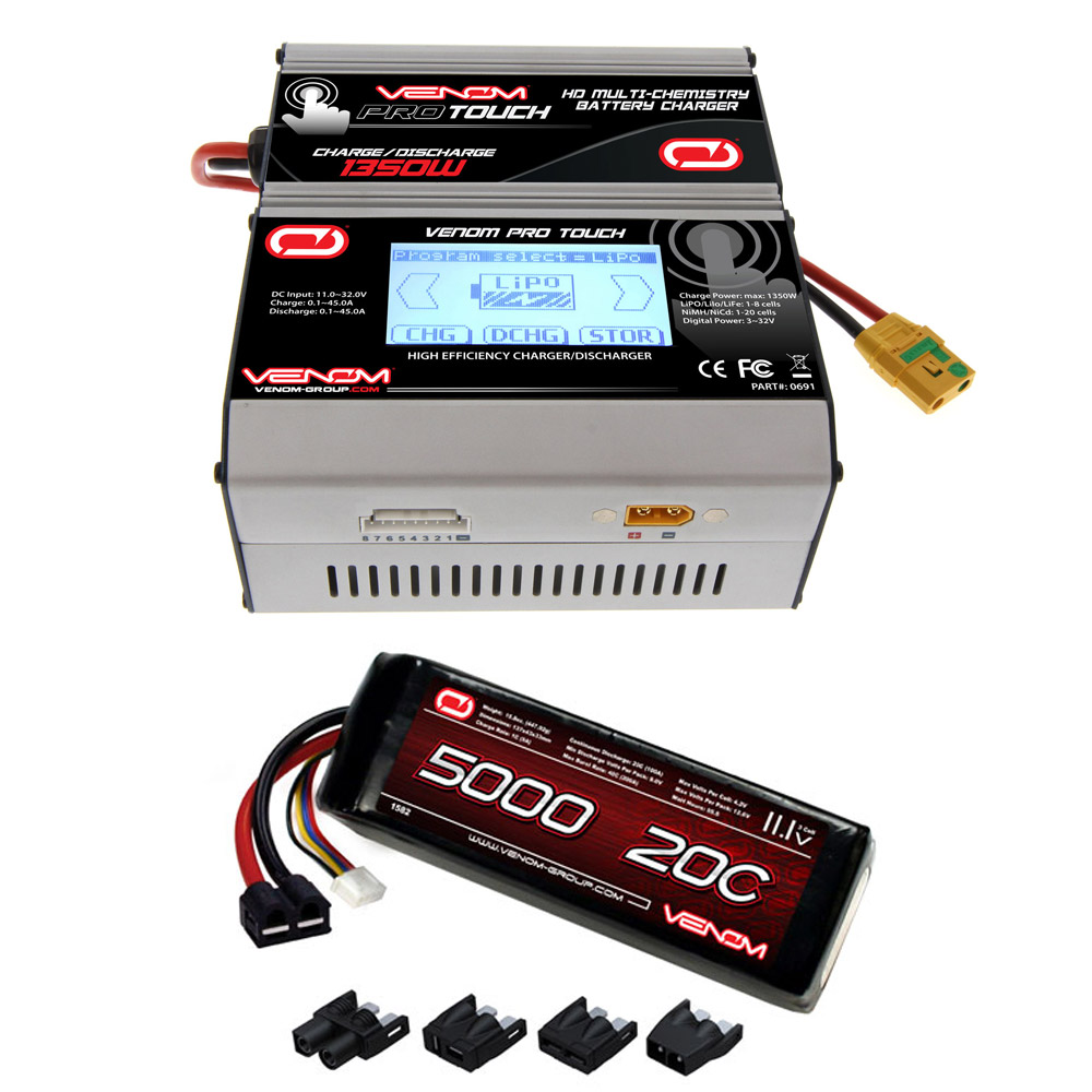 Venom 20C 3S 5000mAh 11.1V LiPo Battery with Universal Plug System and Venom Pro Touch Screen HD 45A RC LiPo/LiHV/NiMH Battery Charger Combo