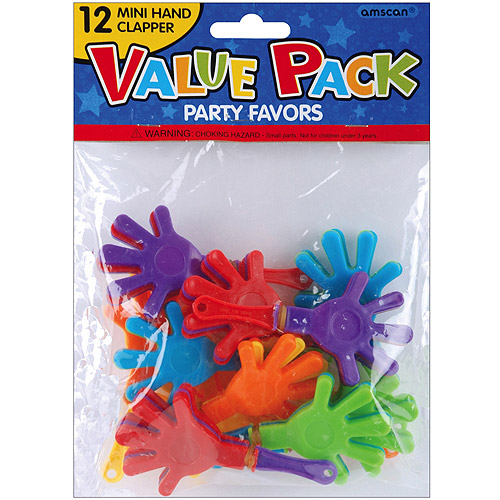 Party Favors, 12-Pack, Mini Hand Clappers