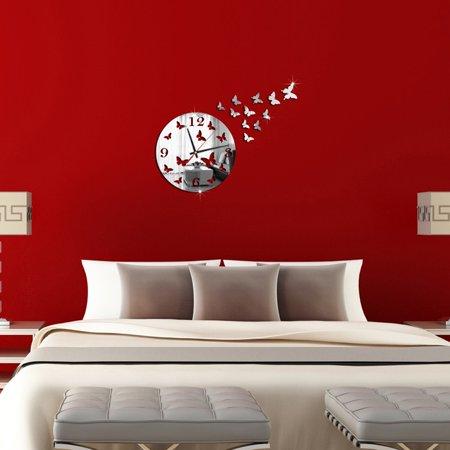 Butterfly 3D DIY Mirror Living Room Home Modern Design Decoration Wall Clock