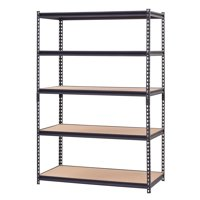 "Muscle Rack 48""W x 24""D x 72""H 5-Shelf Steel Shelving, Black"