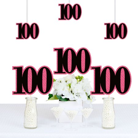 Chic 100th Birthday - Pink, Black and Gold - Decorations DIY Party Essentials - Set of - 100th Birthday Party Decorations