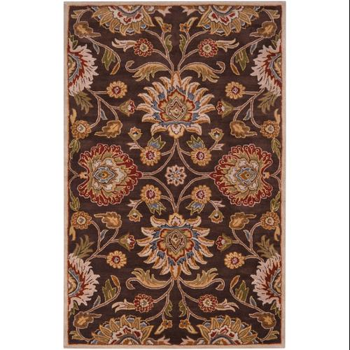 4' x 6' Octavia Khaki Green and Russet Brown Hand Tufted Wool Area Throw Rug