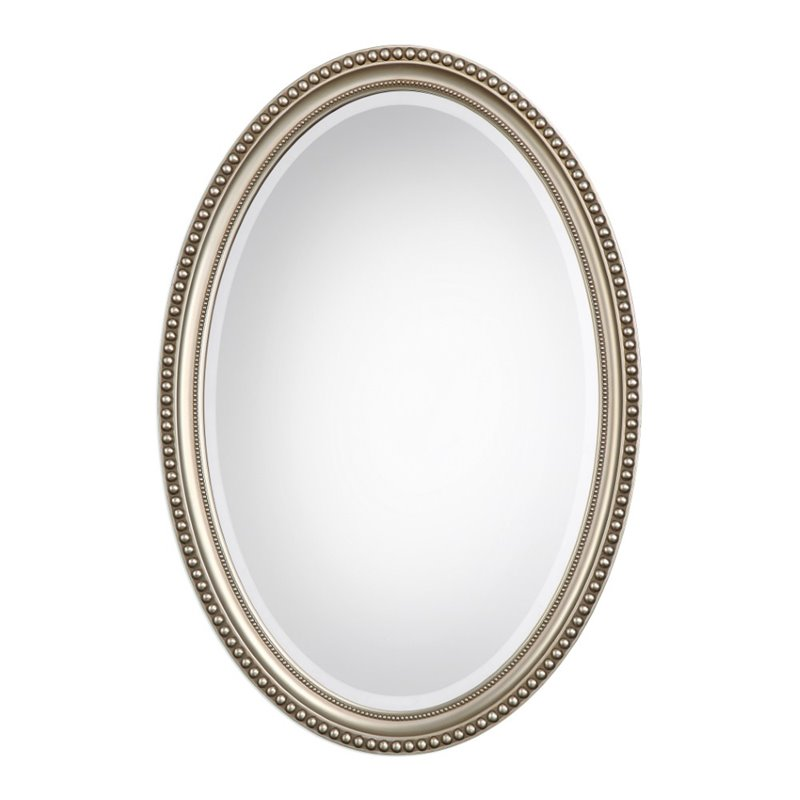 Bowery Hill Elnora Oval Mirror in Metallic Silver by Bowery Hill