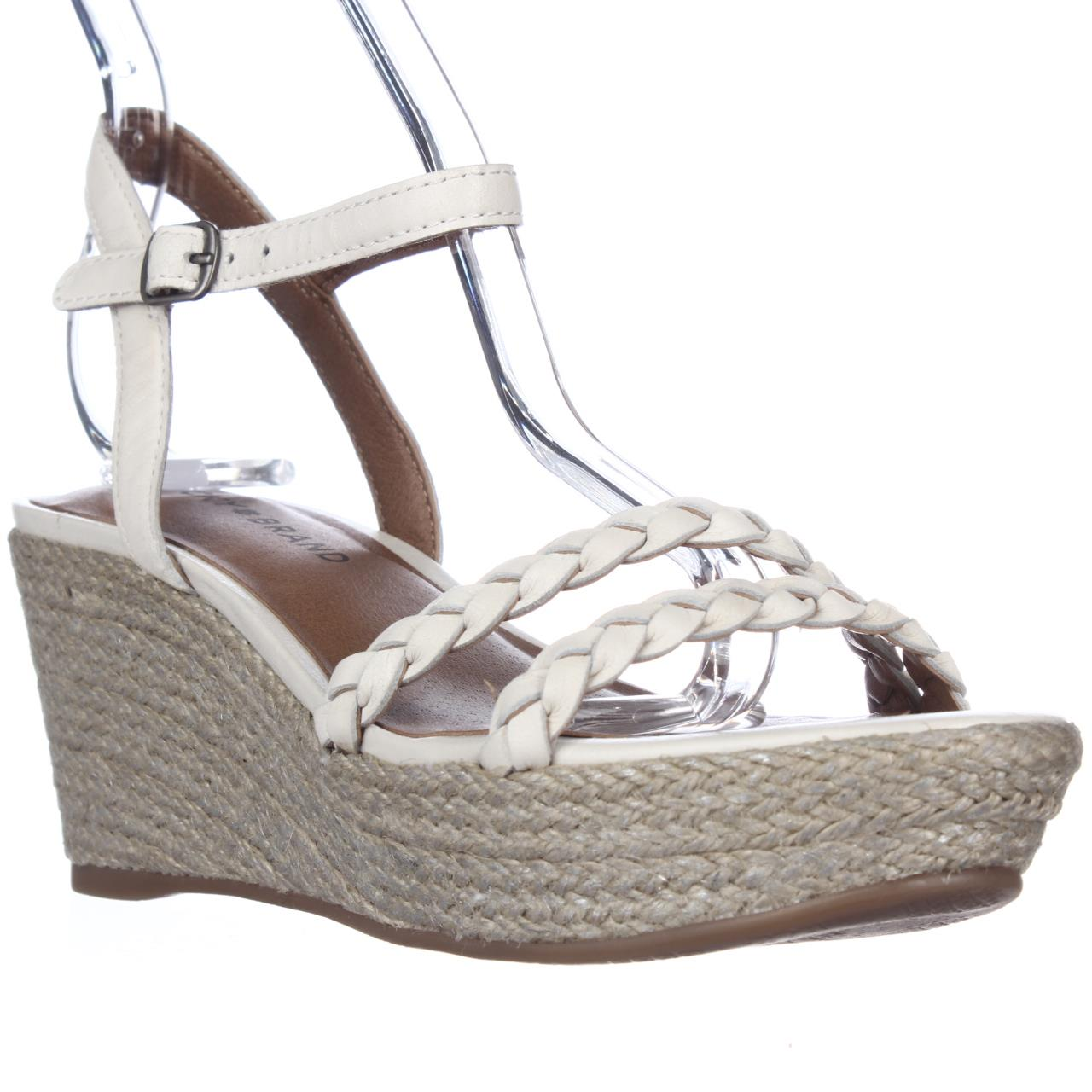 Womens Lucky Brand Lyall Espadrille Wedge Braided Strap Sandals - Nigori/Silver