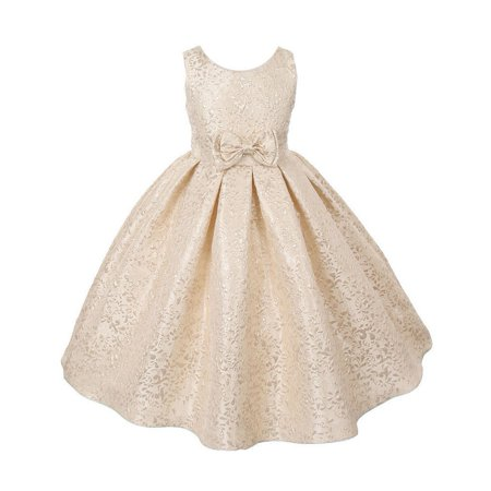 Little Girls Gold Brocade Sleeveless Special Occasion Easter Dress - Little Girls Gold Dress