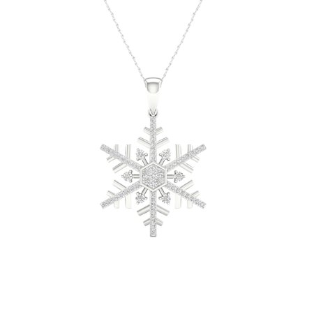 IGI Certified Imperial 1/6Ct TDW Diamond 10K White Gold Snowflake Pendant Necklace (H-I, I2)