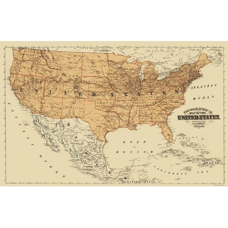 Old North America Map - United States, Mexico, Canada - Andreas 1873 ...