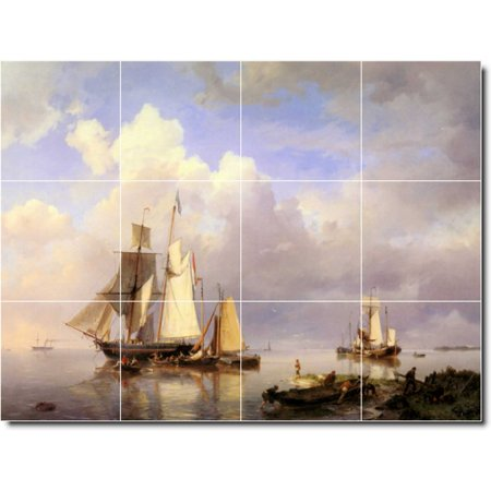 Ceramic Tile Mural Hermanus Koekkoek Ships Bathroom Tile Mural 1 24 w